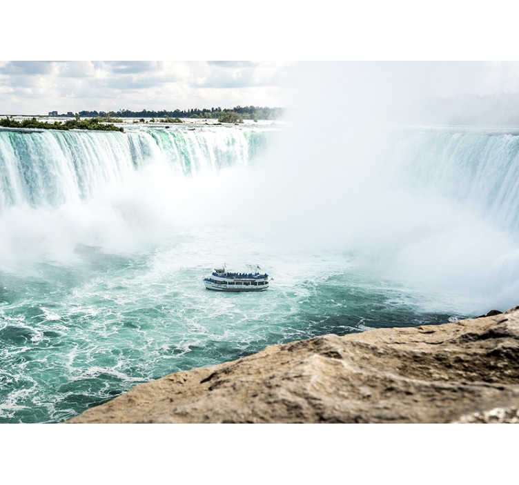 TenStickers. Niagara Falls Photo landscape wall mural. This beautiful and unique Niagara Falls photo wallpaper, is showing a boat between the flowing water. Our wallpaper is made of high quality materials.