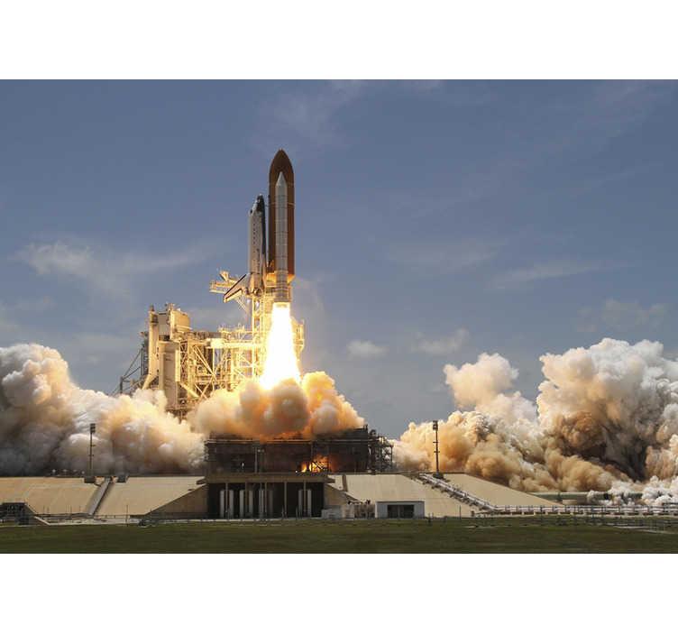 TenStickers. Fototapeta kosmos startująca rakieta. Nasza fototapeta 3D kosmos ze startującą rakietą to produkt wysokiej jakości. Zamów w dowolnym rozmiarze, którego potrzebujesz!