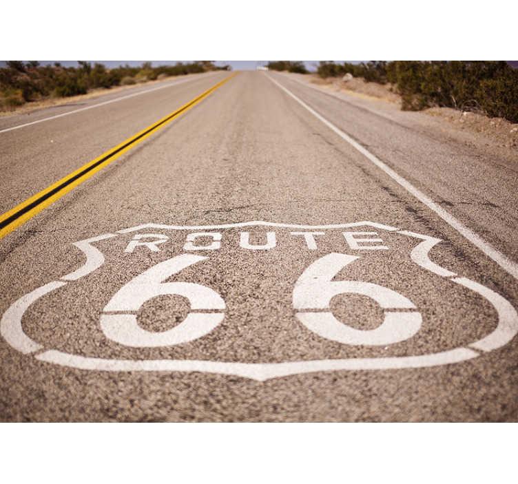TenStickers. Fototapeta do sypialni droga 66. Najsłynniejsza droga na całym świecie! Ta fototapeta z krajobrazem drogi 66 to idealny wybór, jeśli chcesz przypomnieć sobie o wolności podróżowania!