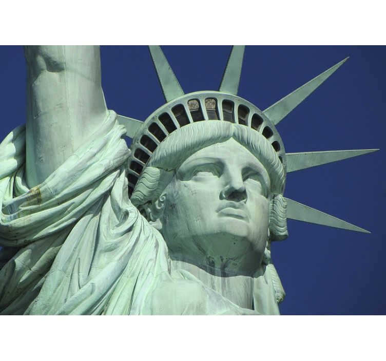 TenStickers. Statue of liberty face New York wall mural. With this statue of liberty face New York photo wallpaper you can renovate the room you want and give it a new look. A high quality material.