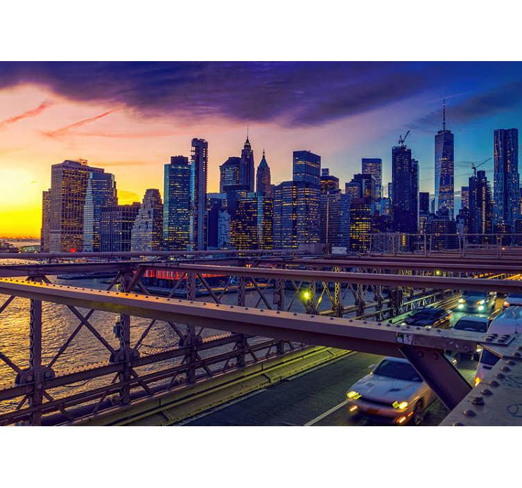 TenStickers. Zonsondergang New York city bridge fotobehang. Kijk naar deze prachtige New York city bridge fotobehang, dit is zeker iets wat je in huis wilt hebben, toch?!