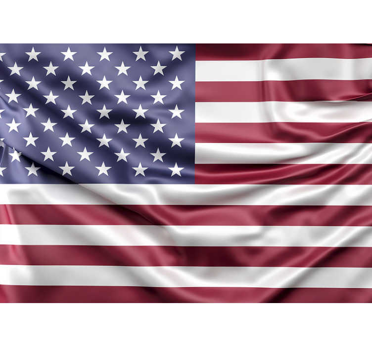 TenStickers. USA Flag mural wallpaper. Large wall mural with a flag of USA waving in the wind will be perfect for your house. Choose the size you need for your walls!