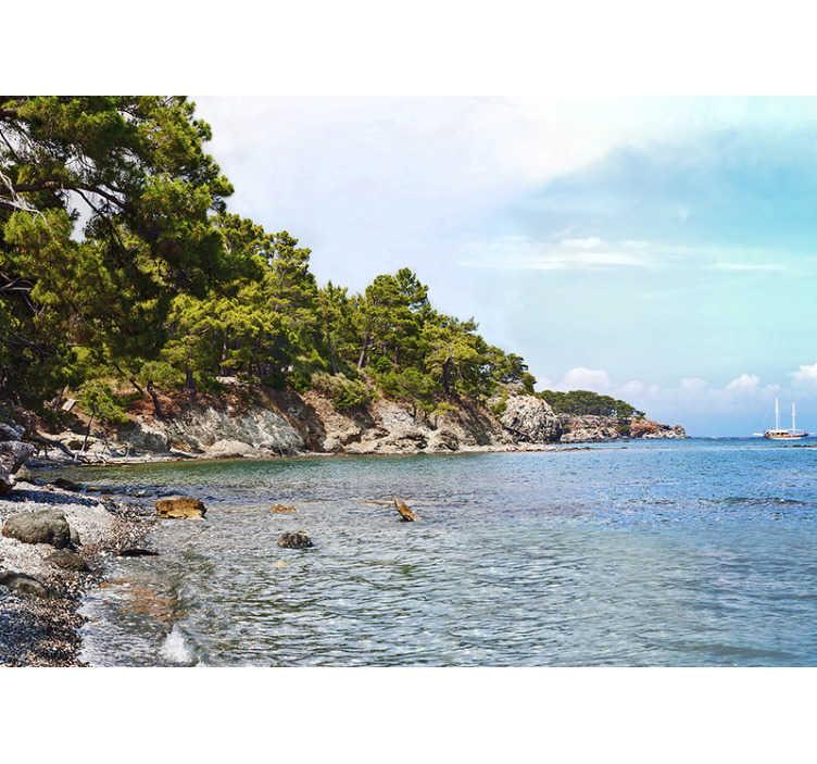 TenStickers. Antalya Strand Stadt Tapete. Genießen Sie eine wunderschöne Fototapete des Strandes von Antalya, an dem jeder seinen Urlaub verbringen möchte! Sie werden es lieben!