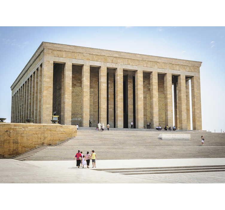 TenStickers. Türbe atatürk sanat duvar resmi. Atatürk'ün türbesi görüntüsü ile bu şaşırtıcı sanat duvar duvarını sipariş edin. Yüksek kaliteli görüntü ve mat kaplama, odalarınızın çarpıcı görünmesini sağlayacaktır!