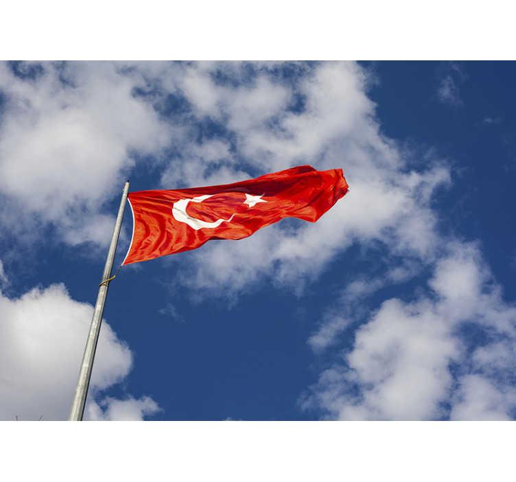 TenStickers. Türk bayrağı duvar kağıdı. Açık havada bu güzel türk bayrağı ülke duvar resmi evinizde istenen duvar üzerinde güzel bir etki verecektir.