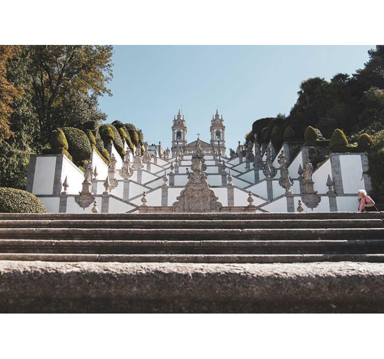 TenStickers. Fotomural decorativo de lugares do Bom Jesus do Monte. Magnífico fotomural decorativo de lugares com uma imagem fantástica para o Santurário do Bom Jesus do Monte, em Braga, Portugal.