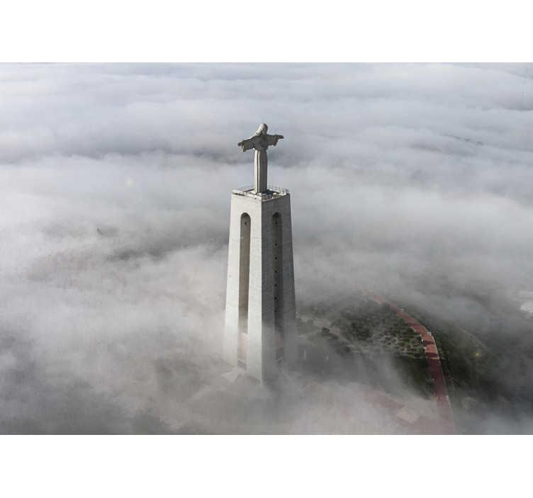 TenStickers. Mural de parede de lugares do Cristo Rei. Mural de parede decorativo de lugares da estátua monumental do Cristo Rei em Portugal. Registe-se para obter 10% de desconto no seu primeiro pedido!