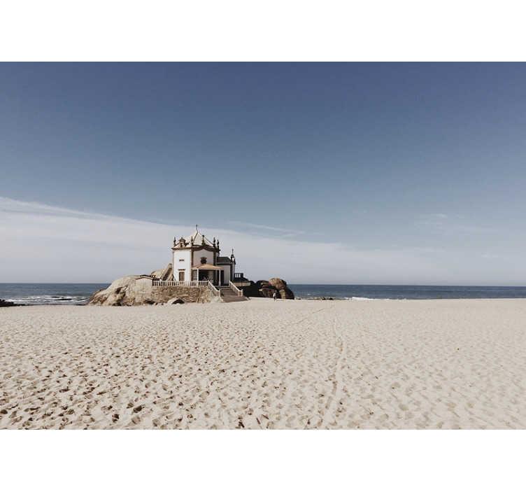TenStickers. Fotomural de paisagens Casa na praia. Magnífico mural de parede decorativo de natureza com a imagem de uma casa na praia  para decorar os seus espaços de forma original.