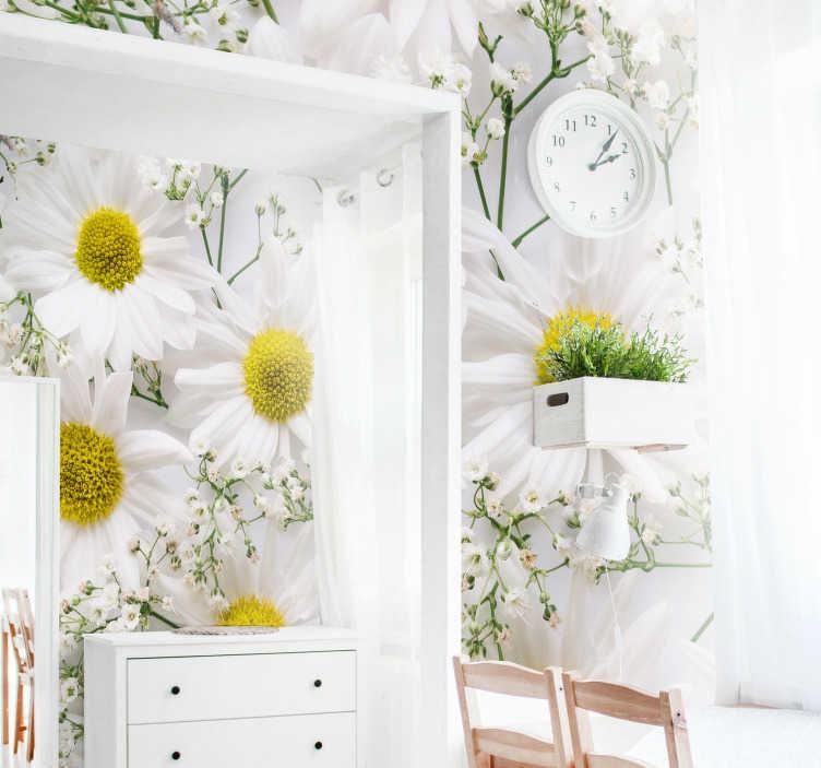 TenStickers. Carta da parati murale fiore margherita. Decora le pareti della tua casa con questo bellissimo disegno floreale a margherita bianca. Aggiungi un po 'di decorazione alle pareti che puoi goderti a lungo.