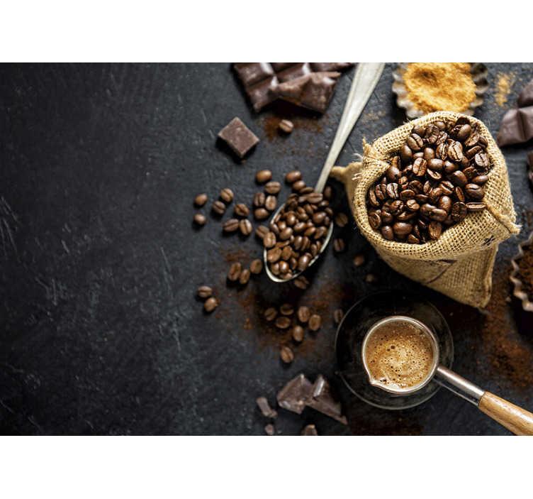 TenStickers. Mural de parede 3d grãos de café. O café é a melhor bebida do mundo. Alguns podem argumentar, mas não este fotomural de parede 3d de grãos e chávenas de café.