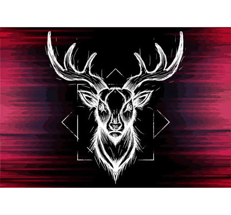 TenStickers. Abstract drawing stag with antlers animal photo wallpaper. This photo wallpaper shows a stunning photo with the drawing of an abstract stag with big antlers. The application is fast and easy!