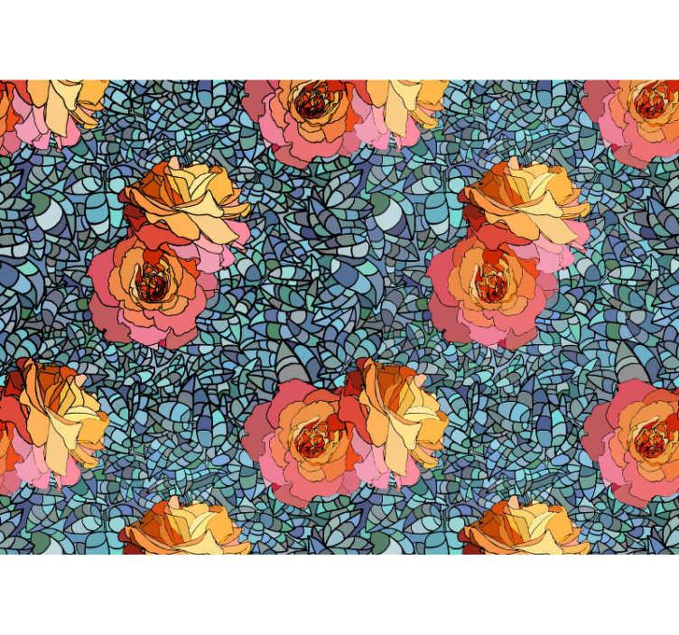TenStickers. Abstrakte Rosen Mosaik Blumen Tapete. Ein faszinierendes Design, um das Sie alle beneiden werden! Diese abstrakte Blumen Fototapete ist eine mutige Wahl mit bunten Rosen und einem blauen und grünen Hintergrund