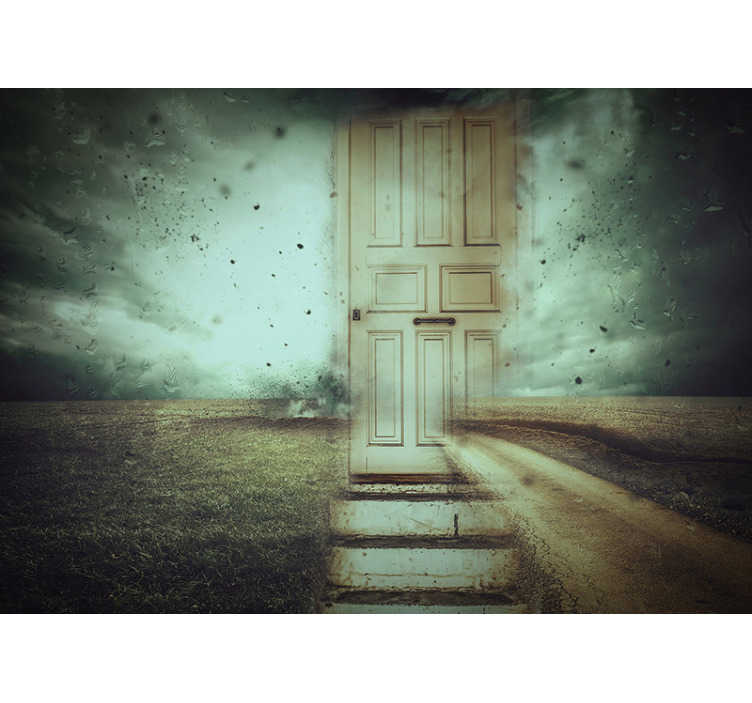 TenStickers. Abstract storm and door wall murals for bedrooms. Do you love decorations that have a mystical  vibe? This abstract photo wallpaper with a door in a stormy landscape is perfect for you!
