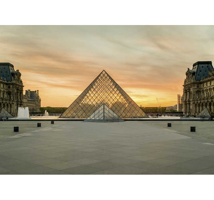 TenStickers. Louvre Museum Paris City wall mural. Fantastic Paris skyline wall mural presenting one of the most important city's landmark: Louvre Museum. High quality image and matte finishing!