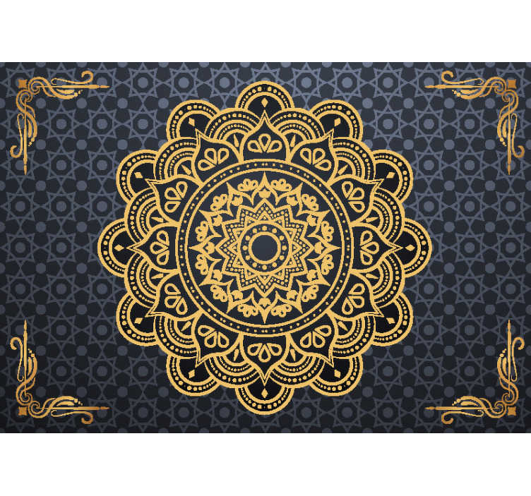 TenStickers. Goldenes Mandala Zen Tapete. Schließen Sie Frieden mit sich selbst mit dieser fantastischen Zen-Fototapete, die perfekt für Ihr Schlafzimmer, Wohnzimmer oder jeden anderen Raum geeignet ist. Gratisversand!