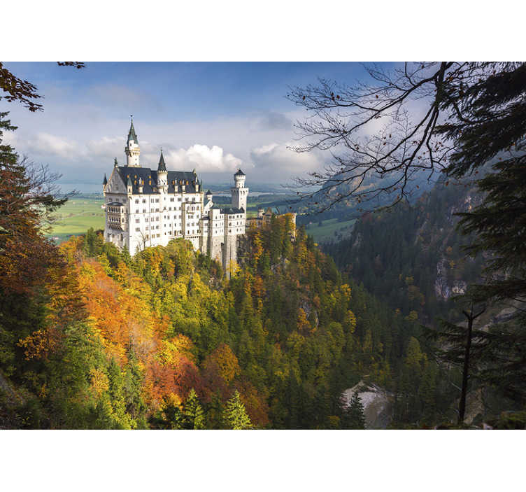 TenStickers. Neuschwanstein castle mural wallpaper. Exceptional scenery wall mural with this famous Neuschwanstein castle. Made out of high quality matte material. Free delivery!