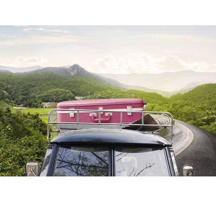 TenStickers. On the road vintage car photo wallpaper. Phenomenal vehicle wall mural that will remind you about the beauty of travelling into the unknown. Order it now for your bedroom or living room!