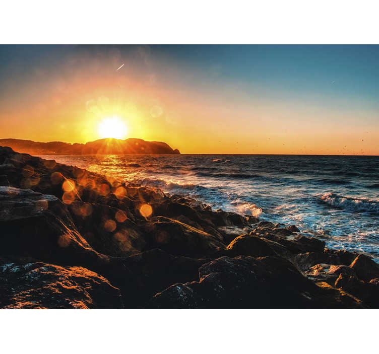 TenStickers. Seaside with sun rays landscape wall mural. Wake up every day by the seaside with this sea photo mural. High quality image and beautiful landcape, order it now! Free delivery!