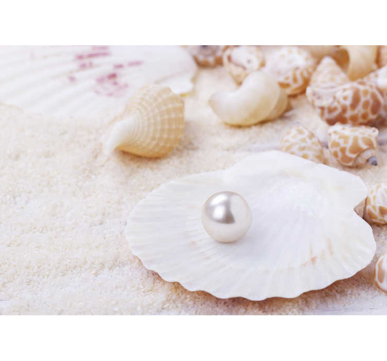 TenStickers. Shell and pearl landscape wall mural. Oder this sea photo mural with a shell and a pearl to get a delicate and subtle decoration in your house. Free delivery!