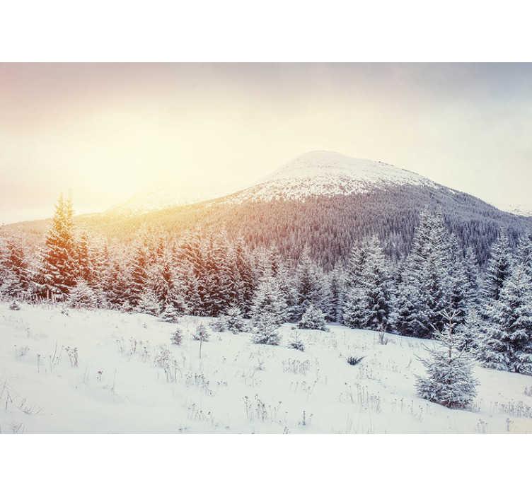 TenStickers. Photo murale paysage de montagne enneigée. Si vous aimez la neige, vous allez certainement tomber amoureux de cette photo murale montagne enneigée. Image de haute qualité, sans bulles d'air ni autres imperfections.