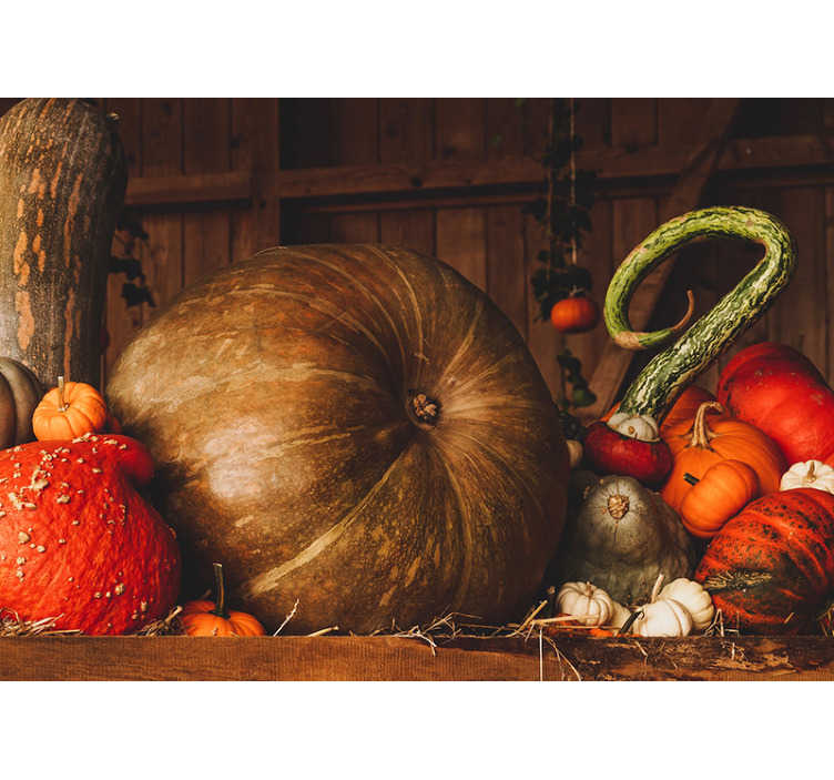 TenStickers. Still life Art Wall Mural. Create a cozy vibe in your house with this art wall mural full of pumpkins in different sizes on the brown background. Free delivery!