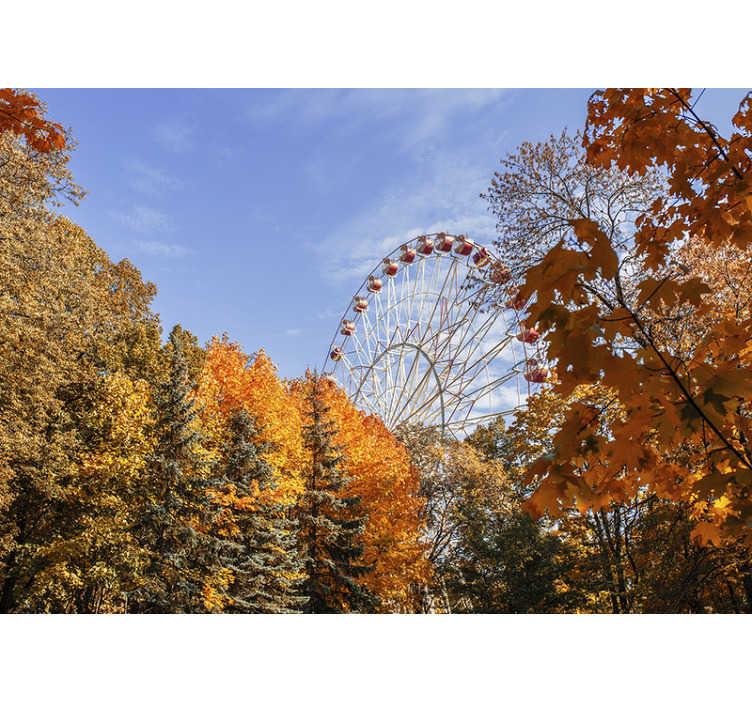 TenStickers. осенний пейзаж настенная роспись. Наслаждайтесь красотой осеннего сезона в любое время года. эта лесная настенная роспись - идеальное украшение для вашего дома. бесплатная доставка!