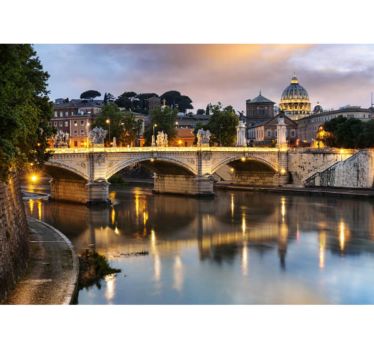 TenStickers. View of Rome from Tevere photomural. Make your mornings beautiful and wake up with the beautiful view of Rome with this landscape wall mural. Choose the perfect size for your walls!