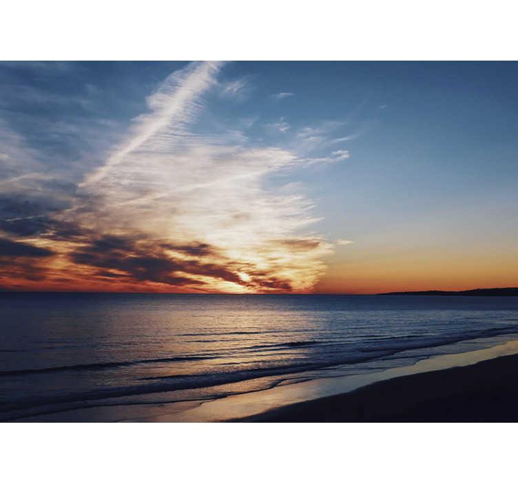 TenStickers. Mural de parede decorativo do mar praia do sol. Este fotomural de paisagens de praia com um pôr do sol de tirar o fôlego será perfeito para si! Medidas personalizáveis.