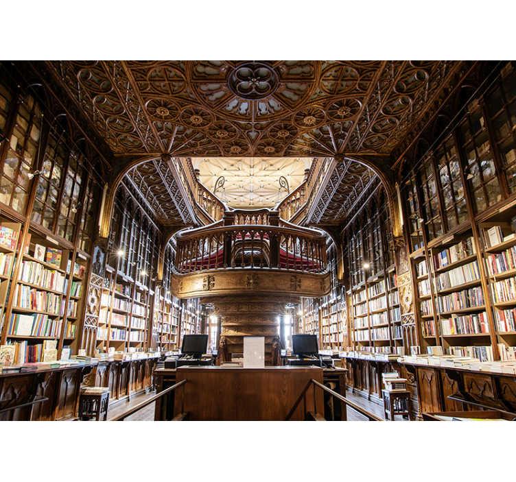 TenStickers. Fotomural de cidades e países Livraria Lello. Este mural de parede de lugares descreve a Livraria Lello, uma das livrarias mais bonitas do mundo. Ideal para salas e quartos.
