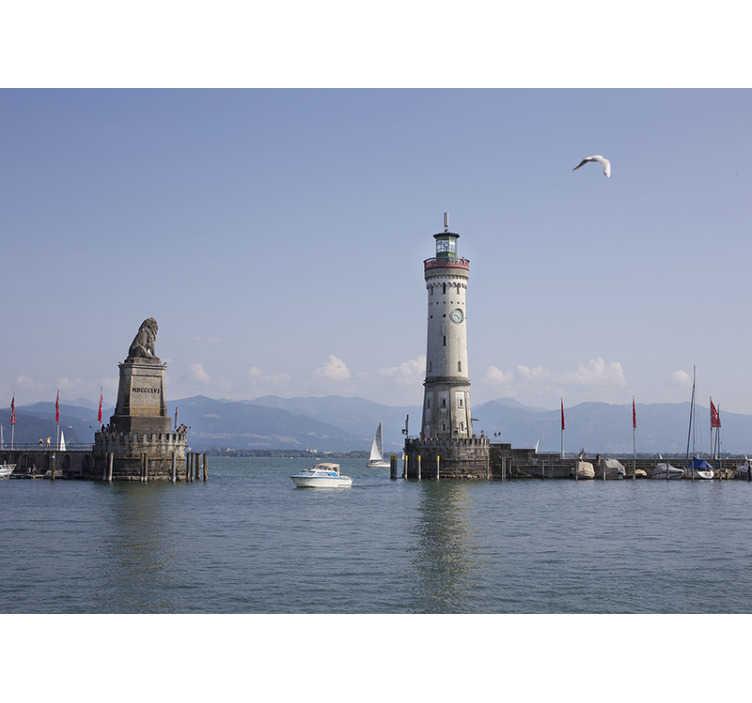 TenStickers. Hafen von Konstanz Stadt Foto Wandtapete. Möchten Sie jemals auf ein Boot springen und wegsegeln? Mit dieser Stadtfototapete, das den Hafen von Konstanz in Deutschland zeigt, wird es möglich sein!