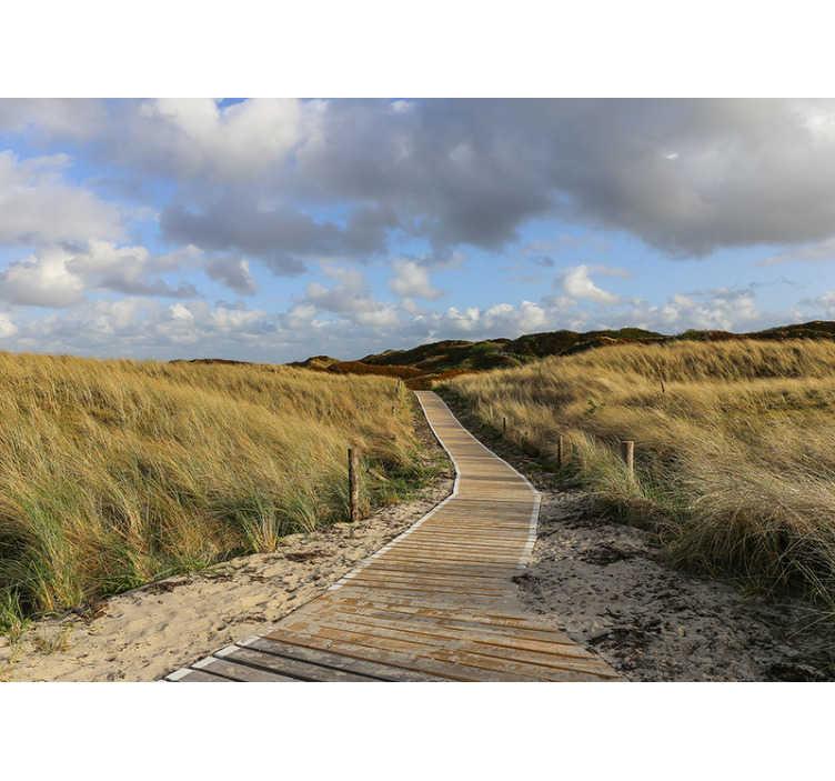TenStickers. Nordsee Deutschland Fototapete. Unsere moderne Tapete besteht aus hochwertigen Materialien, ist sehr langlebig und hält lange. Genießen Sie diesen Blick auf die Dünen in Nordsee Deutschland.