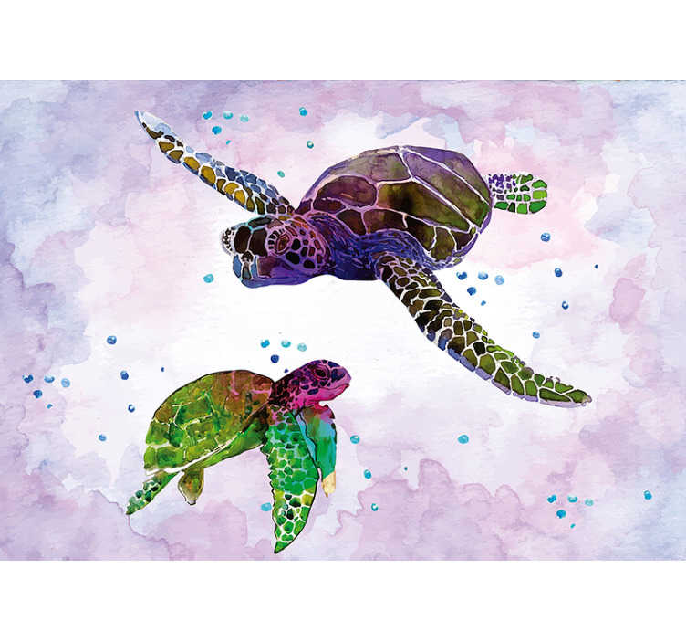 TenStickers. Watercolour turtles wall mural. Fantastic and large wall mural with cute turtles swimming through the vast water that looks like it is painted on your wall. Free delivery!