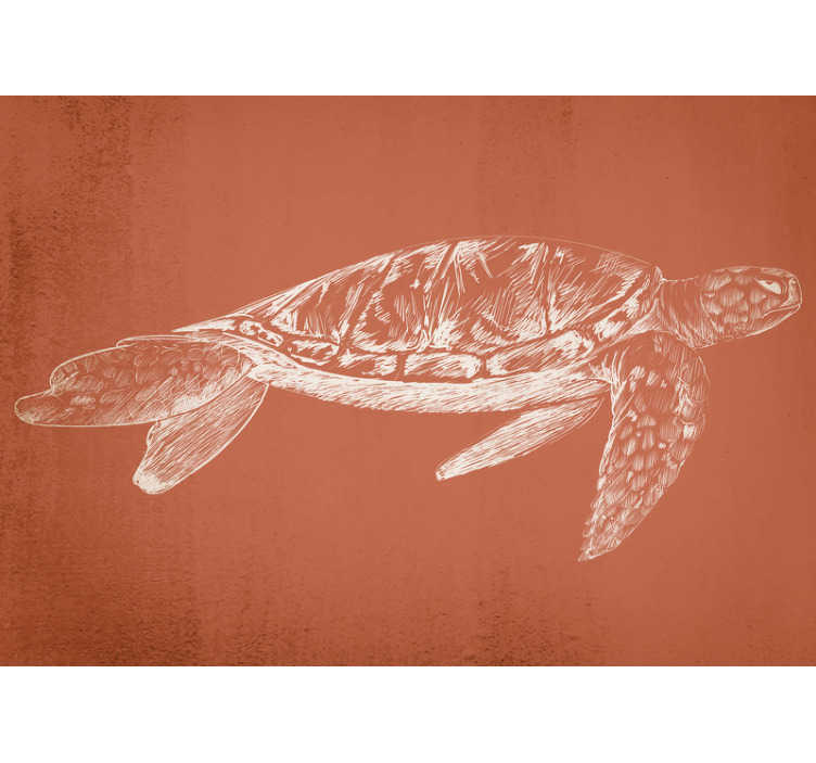 TenStickers. Beautiful Sea Turtle wall mural. High quality office wall mural with the white sketch of a turtle on the brownish background. A design that will make everyone amazed!