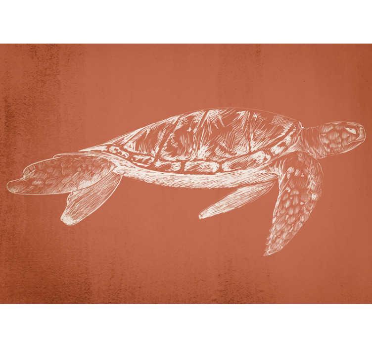 TenStickers. Fototapeta vintage piękny żółw morski. Wysokiej jakości fototapeta biurowa z białym szkicem żółwia na brązowawym tle. Projekt, który zaskoczy wszystkich cudownym designem!
