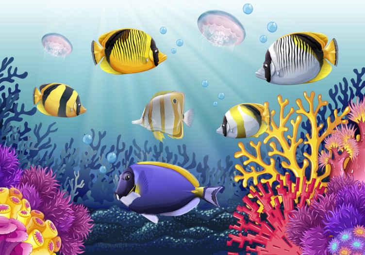 TenStickers. Fototapete Fische Fische schwimmen unter dem Meer. Fototapete für Kinder, um einen Schlafraum mit einem ruhigen und friedlichen Gefühl zu dekorieren. Es ist mit wunderschönen bunten Unterwasserfischen ausgestattet.