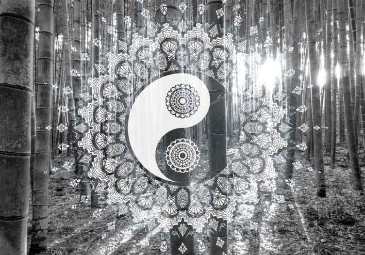 TenStickers. Papier peint photo Yin et yang graphique. Photo murale yin et yang pour la décoration de votre intérieur. Cette décoration murale est créée avec un motif yin yang de couleur noir et blanc. Haute qualité !