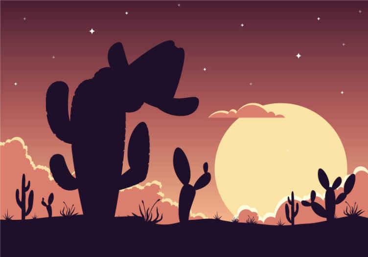 TenStickers. Kaktus a klobouk západní vzor krajina nástěnná malba. Ozdobte si svůj prostor v naší nástěnné malbě pro západní scenérii krávy. Má design kovbojského klobouku zavěšeného na kaktusové rostlině v poušti.