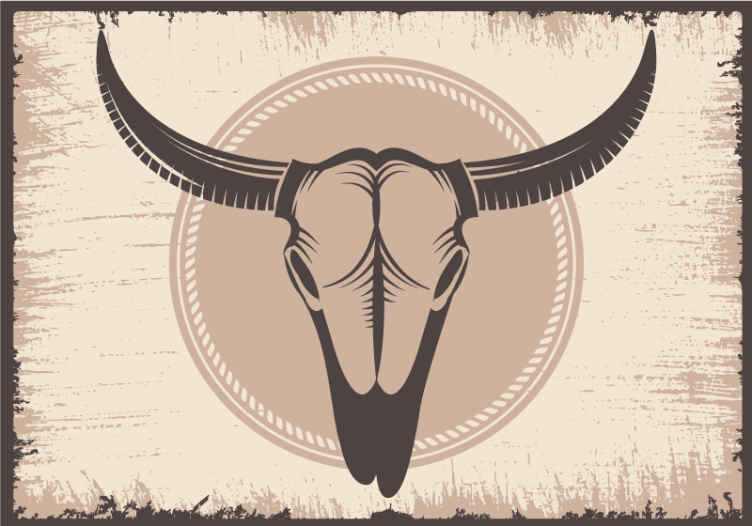 TenStickers. Cowboy elements pattern wall mural. Animal wall mural design featured with a large bull's head on brown background. It is made with high quality material and easy to apply.