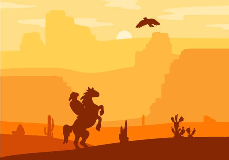 TenStickers. Τοιχογραφία τοίχου τοπίου καουμπόη. Τοιχογραφία τοιχοποιίας με σχέδιο του ηλιοβασιλέματος με καουμπόη ιππασία σε άλογο. το προϊόν είναι εύκολο να εφαρμοστεί σε επίπεδη επιφάνεια.