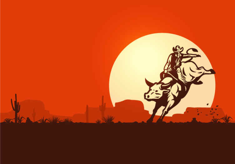 TenStickers. Cowboy riding a bull landscape wall mural. Buy our original vintage wall mural with the background of sunset with a cowboy riding a bull. It is made with high quality material.