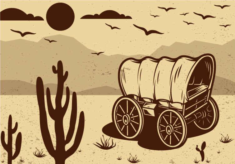 TenStickers. Fotomurais de Parede Vagão de cowboy. fotomural vinílico de parede vintage bonito com o produtoda carroça de um cowboy na montanha com vista para a natureza. é fácil de aplicar e é de boa qualidade.
