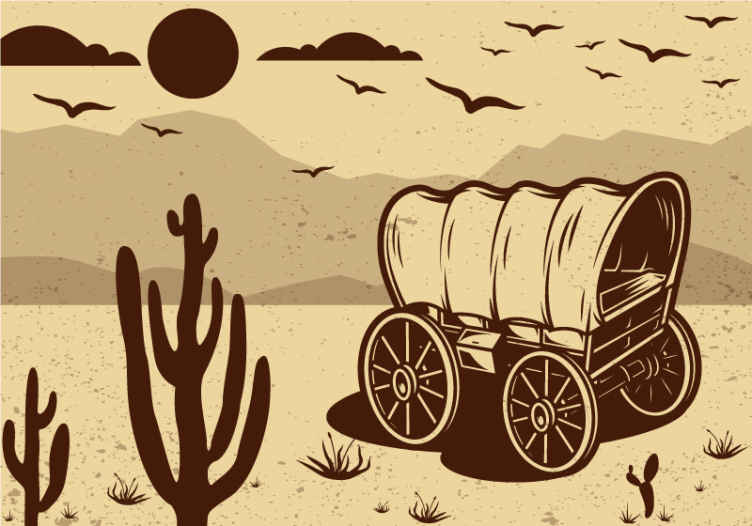 TenStickers. 牛仔马车老式照片壁纸. 美丽的复古墙壁画与牛仔马车在山上与自然观的设计。它易于应用且品质优良。