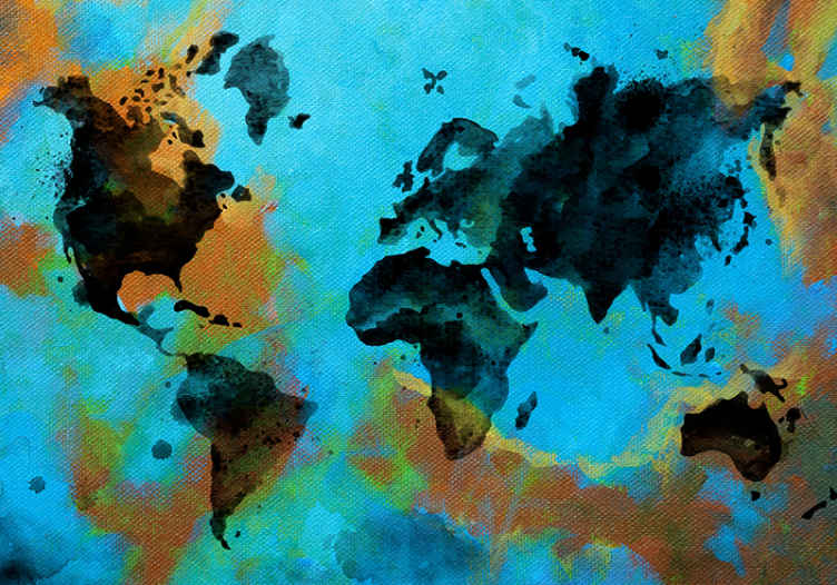 TenStickers. Oslikana foto pozadina dnevnog boravka mape svijeta. Oslikani apstraktnim dizajnom zidnih karata svijeta koji biste definitivno voljeli u svom prostoru. Lako se nanosi i izrađuje se od visokog materijala.