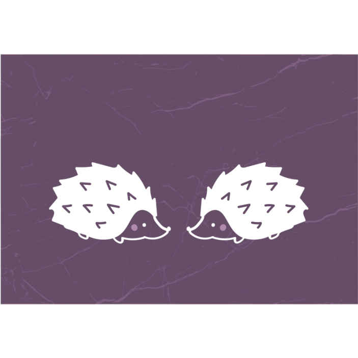 TenStickers. Simple porcupine Lounge Photo Wallpaper. A simple yet pretty lounge wall mural design printed with the drawing image of porcupines on purple textured background.