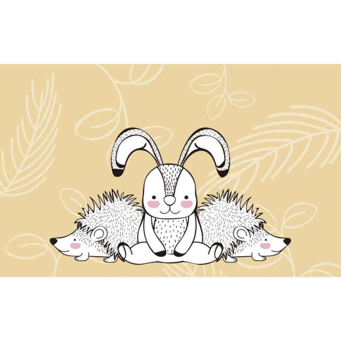 Tenstickers. Siilit ja kani valokuvatapetti makuuhuoneeseen. Lasten makuuhuoneen tapetti kuvalla, tehty siilit ja kani. Se on helppo levittää ja valmistettu korkealaatuisesta materiaalista.