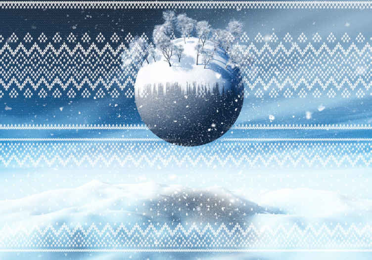 TenStickers. Christmas Typical pattern Lounge Photo Wallpaper. Decorate your home for Christmas in this lovely and fascination typical Christmas featured wallpaper design composing of snow with trees.