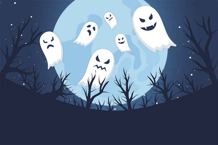 TenStickers. Terrifying ghosts on blue landscape wall mural wallpaper.  Decorative terrifying ghosts on blue landscape wall mural. A design with more subtle scare for children and teens, a bedroom decoration for Halloween.