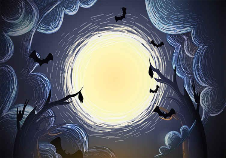 TenStickers. Fotowand Elegante halloween-vleermuizen. Een Halloween vleermuizen fotobehang voor thuis en op de andere ruimte. Het ontwerp wordt gekenmerkt met enge halloween-figuren in een elegante display.