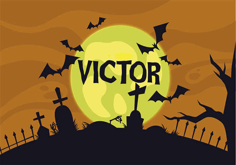 TenStickers. Funny Halloween decoration wall mural wallpaper. Suitable decorative Halloween wall mural for kid's bedroom, featured with the design of graves, flying black bats, yellow moon and a customized  name.