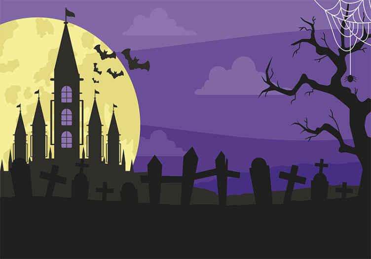"""""""Tenstickers"""". Niūrios kapinių helovino nakties sienų tapetai. įsivaizduokite, kaip naktį vaikštote niūriose kapinėse, tai pavaizduota šiame helovino dideliame paveiksle. Jame yra pilis miške su kapais."""